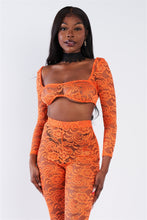 Load image into Gallery viewer, Sheer Floral Lace Crop Square Neck Top & High Waist Flare Pant Set - Sensual Fashion Boutique