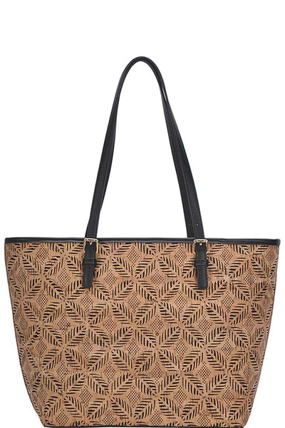 Chic Trendy Cork Textured Fashion Pattern Shopper Bag - Sensual Fashion Boutique