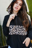 Contrast Leopard Print Front Zipper Up Kangaroo Pocket Windbreaker Hoodie - Sensual Fashion Boutique