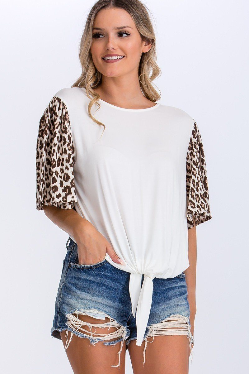 Contrast Leopard Print And Solid Top - Sensual Fashion Boutique