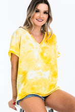 Load image into Gallery viewer, Tie-dye Top Featured In A V-neckline And Cuff Sort Sleeves - Sensual Fashion Boutique