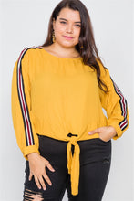 Load image into Gallery viewer, Plus Size Color Block Sleeve Front Knot Semi-sheer Top - Sensual Fashion Boutique