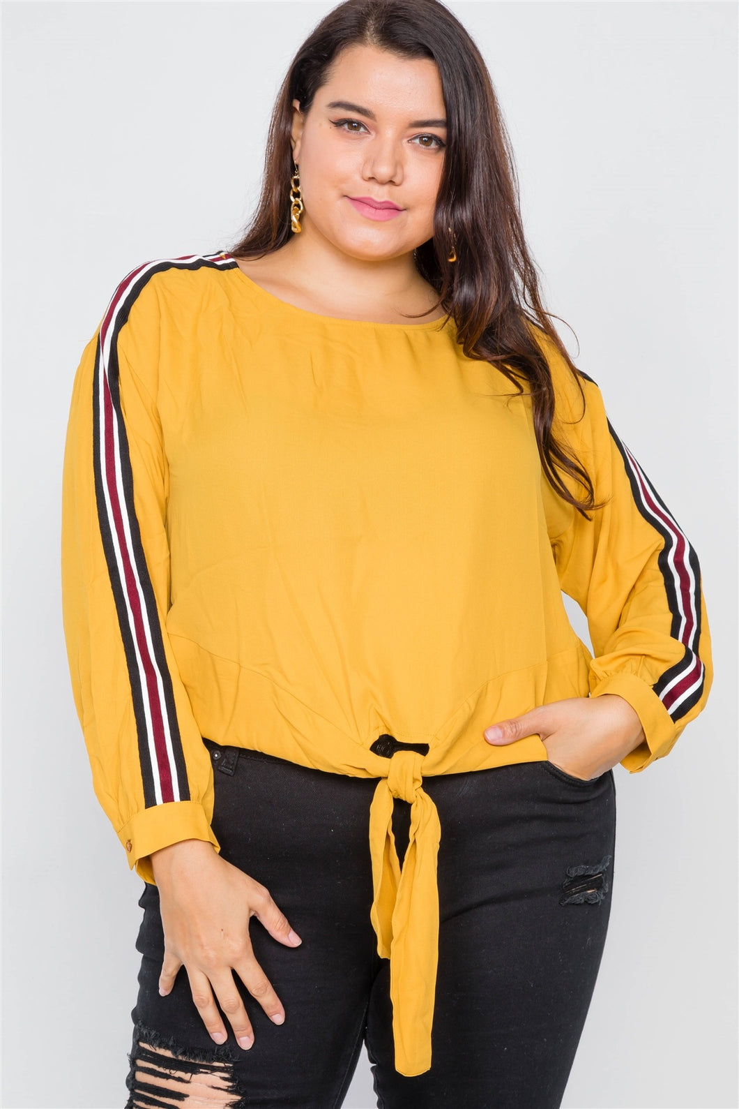 Plus Size Color Block Sleeve Front Knot Semi-sheer Top - Sensual Fashion Boutique