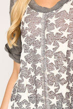 Load image into Gallery viewer, Star Textured Knit Mixed Tunic Top With Shark Bite Hem - Sensual Fashion Boutique