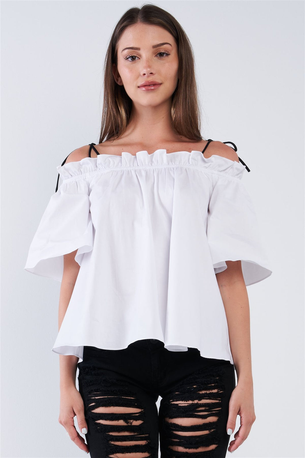 White Cotton Relaxed Fit Stretchy Ruffle Hem Off-the-shoulder Top With Black Self Tie Strings - Sensual Fashion Boutique