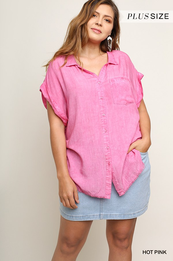 Washed Button Up Short Sleeve Top With Frayed Hemline - Sensual Fashion Boutique
