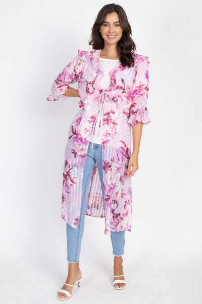 Floral Print Pale Pink Tie Front Knee Length Kimono