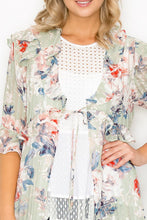 Load image into Gallery viewer, Floral Print Pale Sage Tie Front Knee Length Kimono - Sensual Fashion Boutique