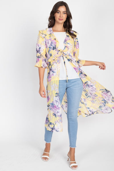 Floral Print Pale Yellow Tie Front Knee Length Kimono