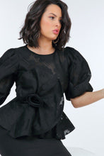 Load image into Gallery viewer, Puff Sleeve Flower Patch Lace Peplum Top - Sensual Fashion Boutique
