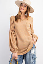 Load image into Gallery viewer, Bubble Slvs Multi Tone Light Hacci Sweater Top - Sensual Fashion Boutique