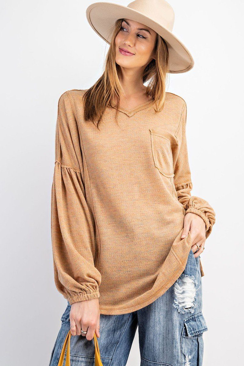 Bubble Slvs Multi Tone Light Hacci Sweater Top - Sensual Fashion Boutique