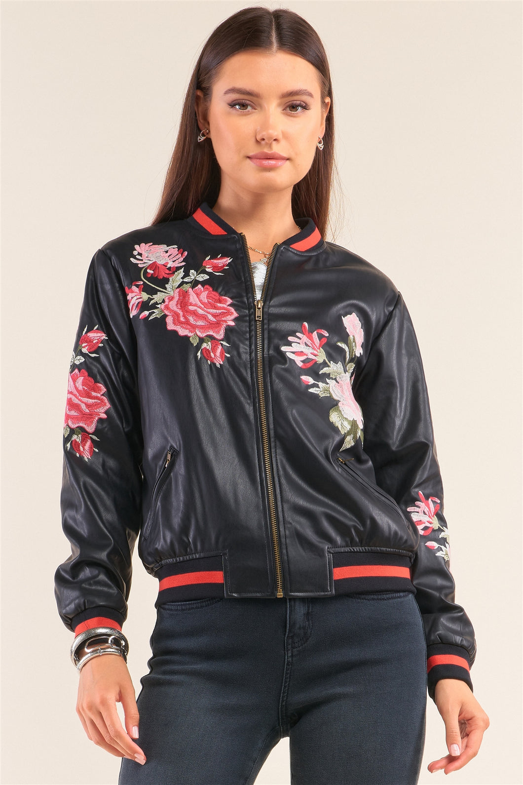 Rosa Black Vegan Leather Floral Embroidery Striped Hem Bomber Jacket - Sensual Fashion Boutique