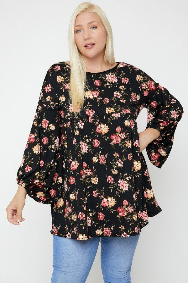Floral, Bubble Sleeve Tunic - Sensual Fashion Boutique