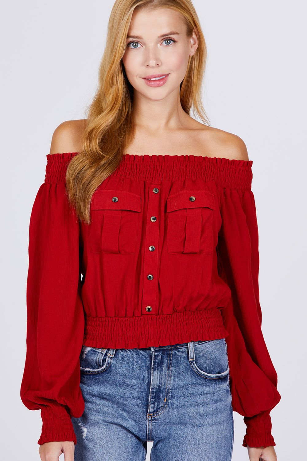 Front Pocket Off Shoulder Top - Sensual Fashion Boutique