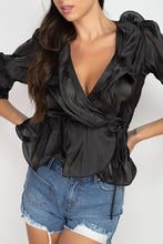 Load image into Gallery viewer, Surplice Short Sleeve Ruffle Top - Sensual Fashion Boutique