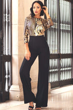 Load image into Gallery viewer, Open Back Gold Sequin Pattern Jumpsuit - Sensual Fashion Boutique