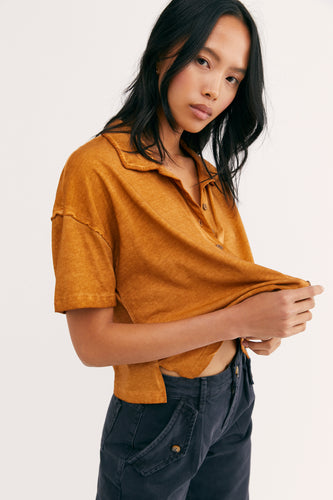 Free People Weekend Rush Henley Tee Copper - Sensual Fashion Boutique