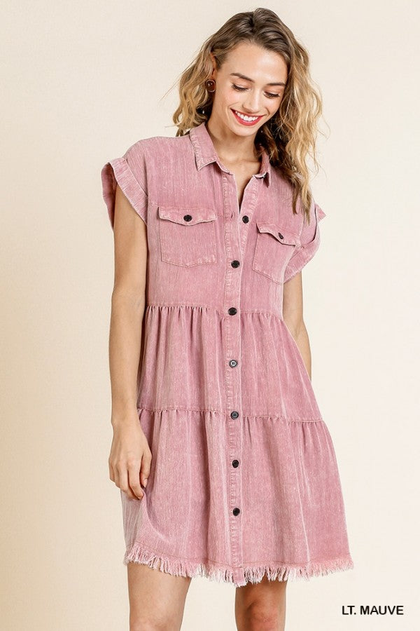 Umgee Mauve Short Sleeve Button Front Ruffle Tier Dress - Sensual Fashion Boutique