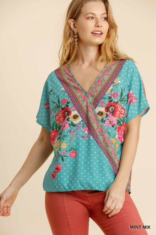 Umgee Mixed Print Short Sleeve Surplice Top - Sensual Fashion Boutique