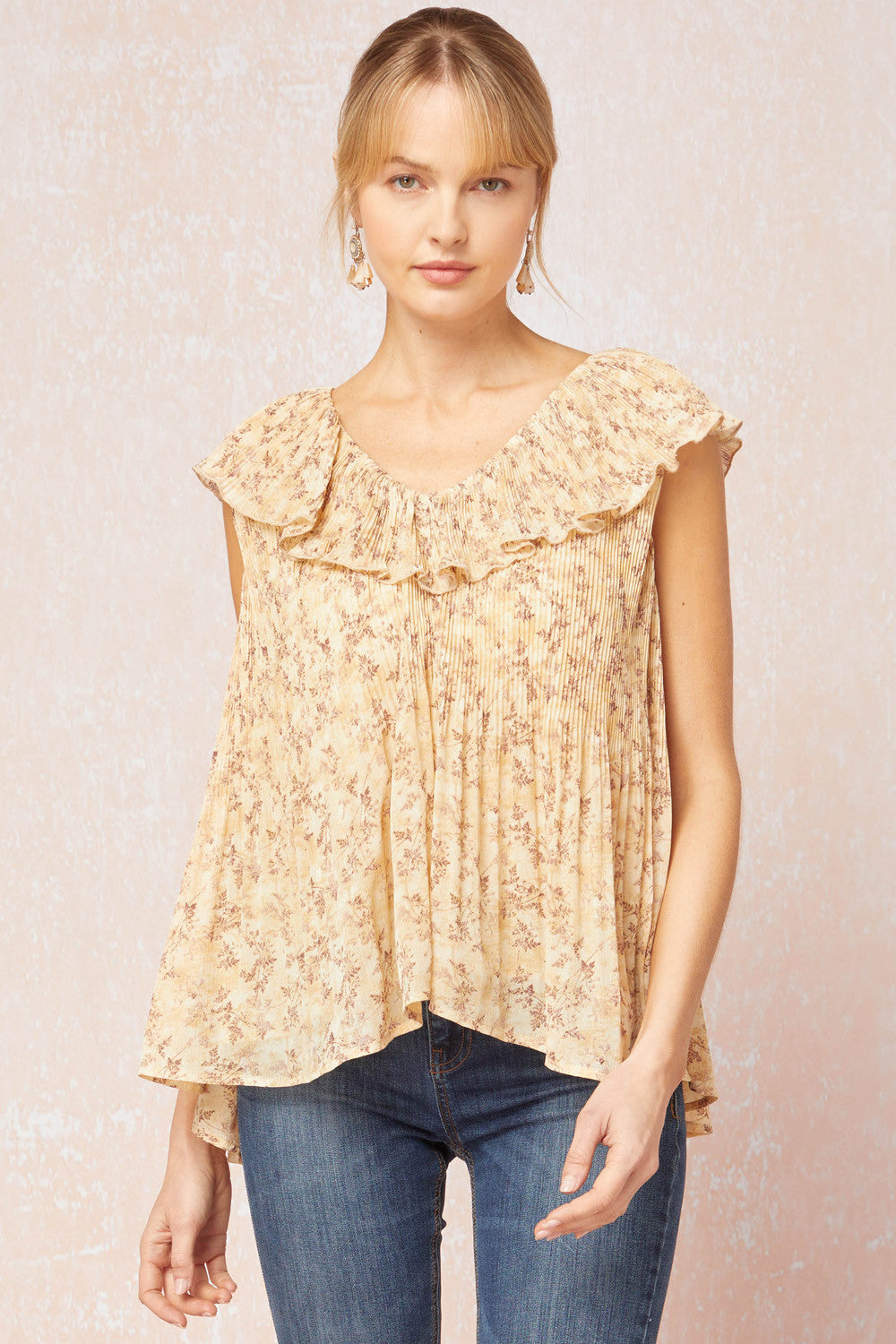 Entro Straw Floral Pint Pleated Ruffle Flounce Top - Sensual Fashion Boutique