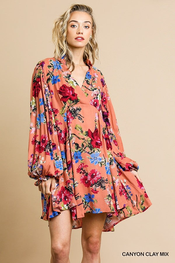 Umgee Floral Print Canyon Clay Mix Long Ruffle Puff Sleeve Mini Dress - Sensual Fashion Boutique