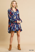 Load image into Gallery viewer, Umgee Floral Print Navy Mix Long Ruffle Puff Sleeve Mini Dress - Sensual Fashion Boutique