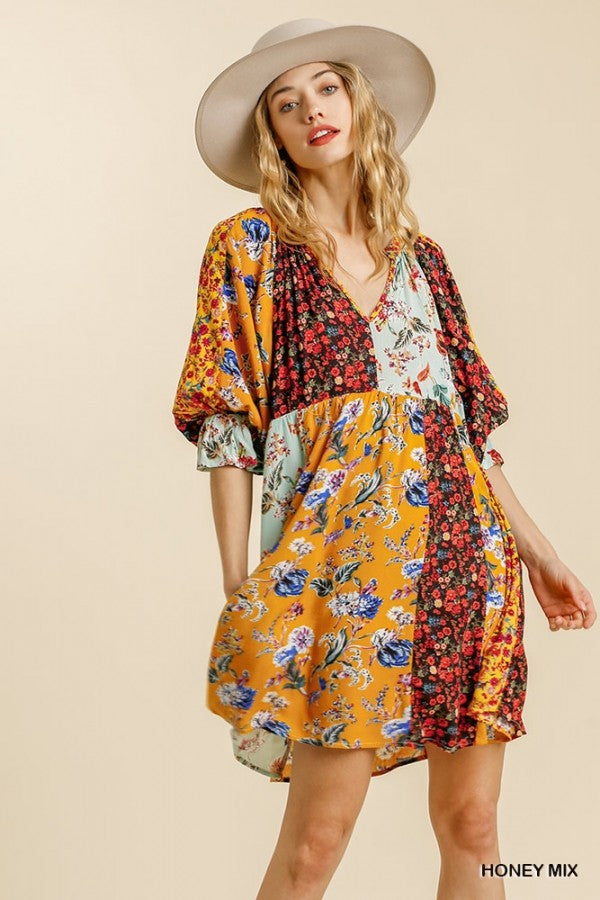 Umgee Floral Mix Print Puff Sleeve Dress - Sensual Fashion Boutique