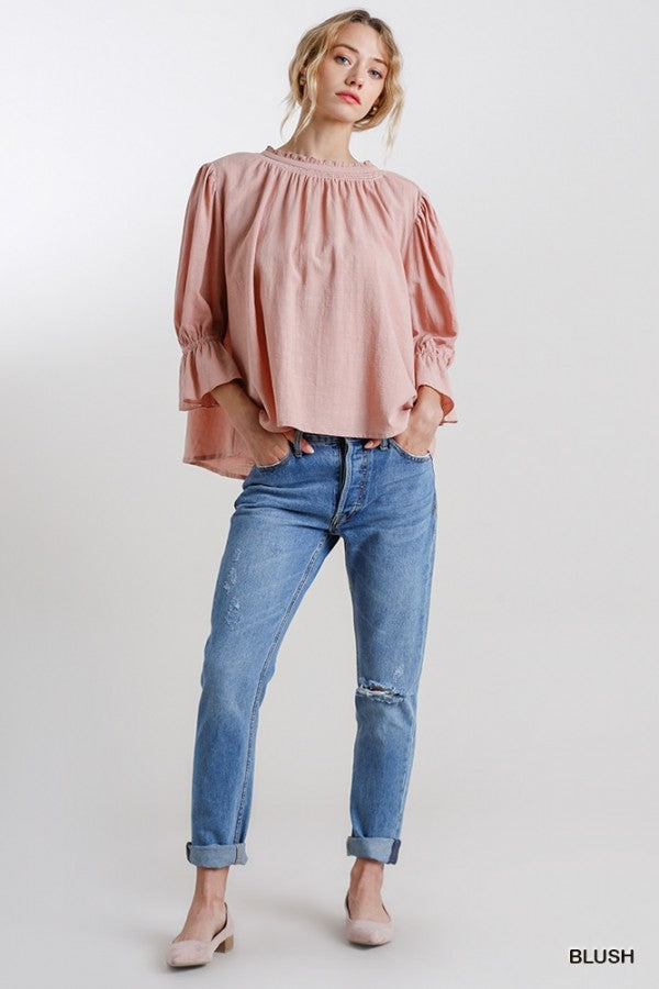 Umgee Frill Neck Ruffle Sleeve Top - Sensual Fashion Boutique