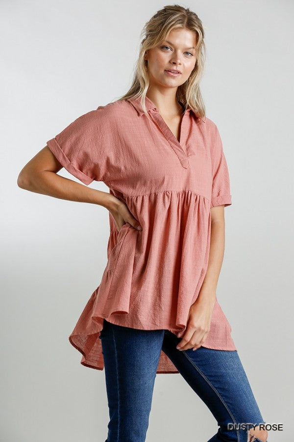 Umgee Collared Short Sleeve Babydoll Tunic - Sensual Fashion Boutique