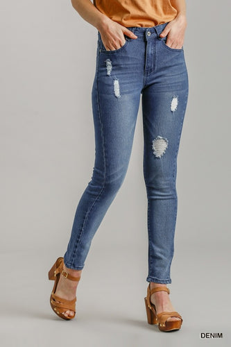 Umgee 6 Pocket Distressed High Rise Skinny Jeans - Sensual Fashion Boutique