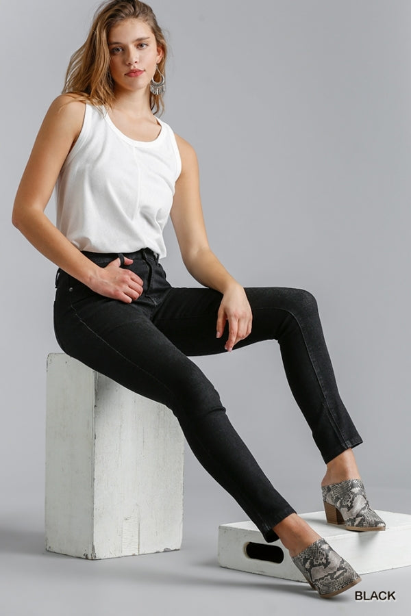 Umgee Clean Look High Rise Stretch Elastic Back Skinny Jeans - Sensual Fashion Boutique