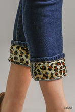 Load image into Gallery viewer, Umgee Animal Print Cuff Stretch Skinny Jeans - Sensual Fashion Boutique