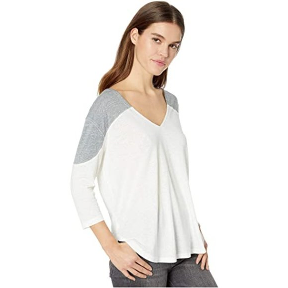 Free People Ivory Combo Major Leagues Tee - Sensual Fashion Boutique