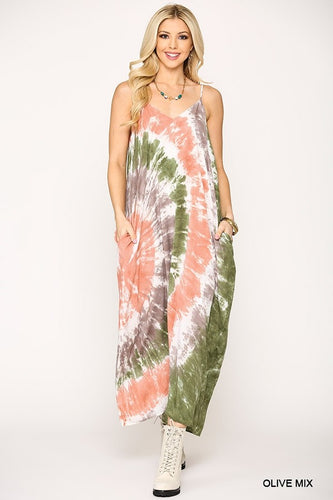 Gigio Olive Mix Tie Dye Sleeveless Maxi Dress - Sensual Fashion Boutique
