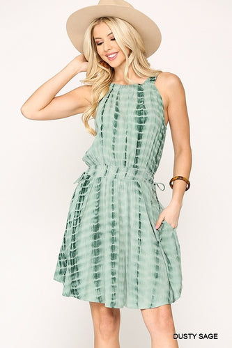 Gigio Dusty Sage Tie Dye Halter Neck Waist Smocked Dress - Sensual Fashion Boutique