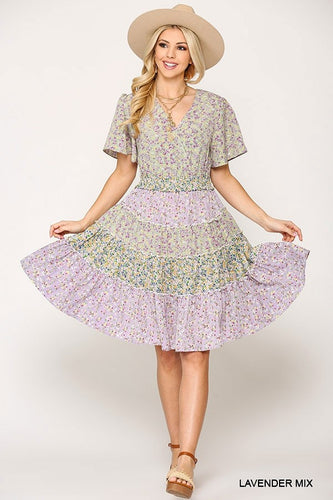Gigio Lavender Mix Ditsy Floral Print Waist Smocked Dress - Sensual Fashion Boutique
