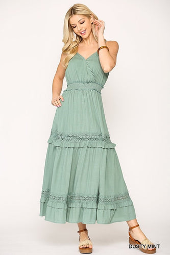 Gigio Sleeveless Waist Smocked Crochet Trim Maxi Dress - Sensual Fashion Boutique