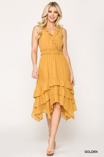 Gigio Golden Chiffon Ruffle Sleeveless Midi Dress - Sensual Fashion Boutique