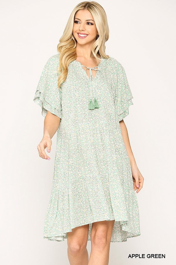 Gigio Apple Green Ditsy Floral Print Peasant Tiered Dress - Sensual Fashion Boutique
