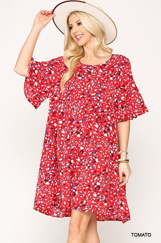 Gigio Tomato Red Dot Print Pocketed Keyhole Dress - Sensual Fashion Boutique