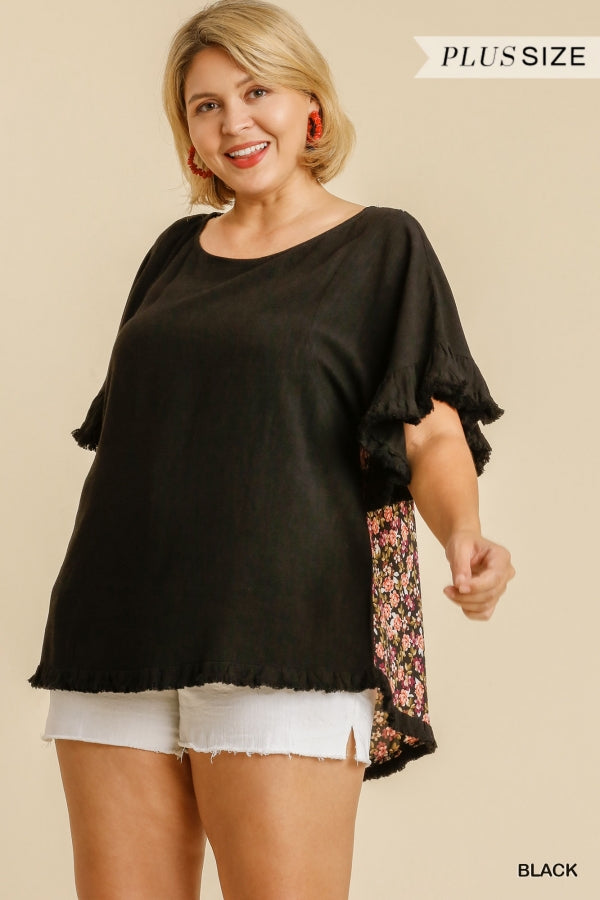 Umgee Plus Size Black Floral Animal Mix Print Fringe Hem Top - Sensual Fashion Boutique