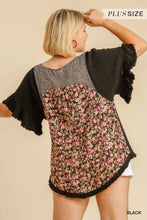 Load image into Gallery viewer, Umgee Plus Size Black Floral Animal Mix Print Fringe Hem Top - Sensual Fashion Boutique