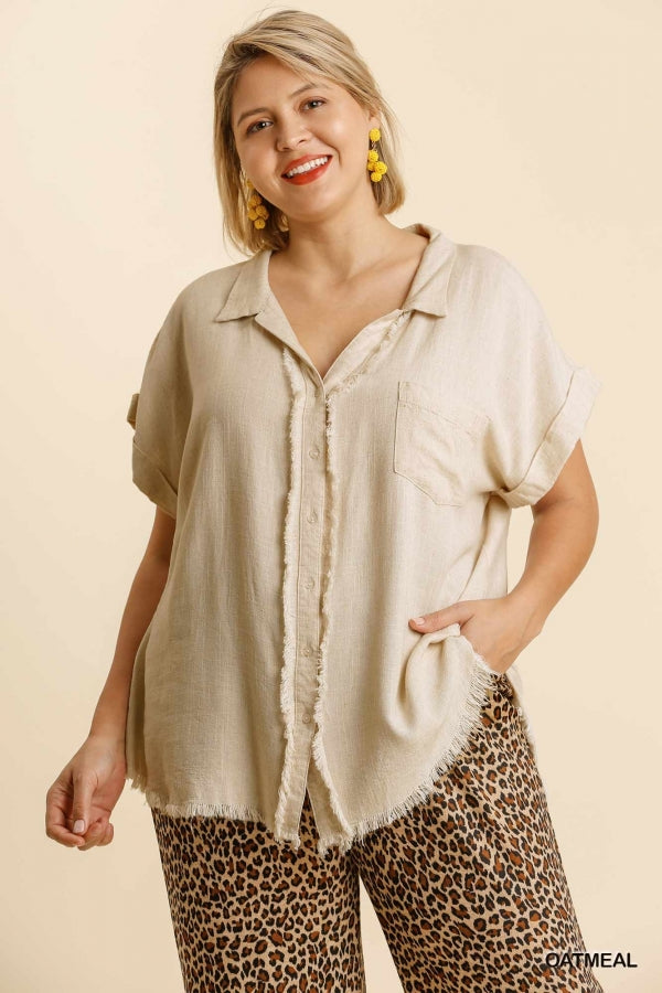 Umgee Plus Oatmeal Button Down Short Folded Sleeve Top - Sensual Fashion Boutique