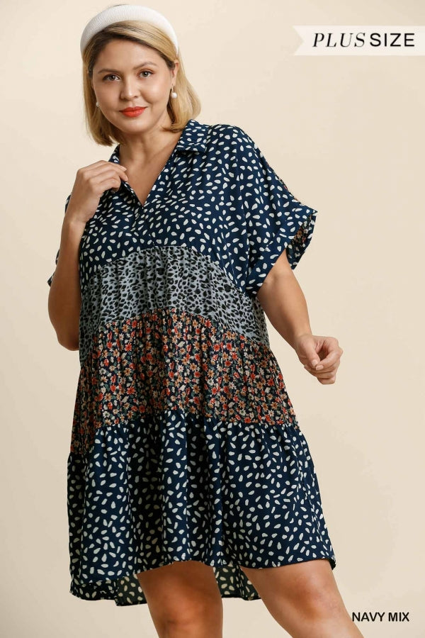 Umgee Plus Navy Mixed Print Boho Dress - Sensual Fashion Boutique
