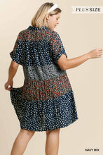 Load image into Gallery viewer, Umgee Plus Navy Mixed Print Boho Dress - Sensual Fashion Boutique