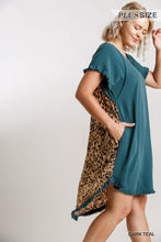 Load image into Gallery viewer, Umgee Plus Animal Print Back High Low Fishtail Scoop Ruffle Dress - Sensual Fashion Boutique