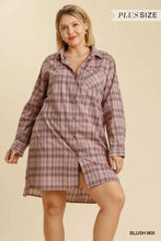 Load image into Gallery viewer, Umgee Plus Size Plaid Collar Button Down Chest Pocket Dress - Sensual Fashion Boutique