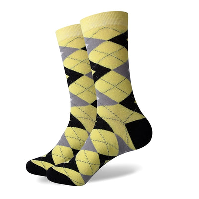 Yellow Grey Argyle Socks
