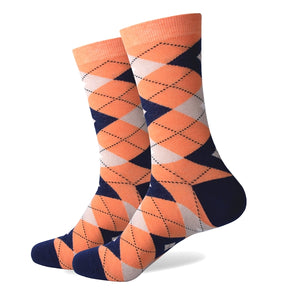 Orange Navy Argyle Socks
